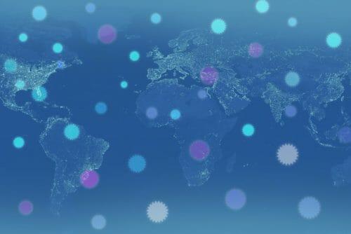 世界にウイルスが広がるイメージ図